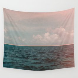 Turquoise Ocean Peach Sunset Wall Tapestry