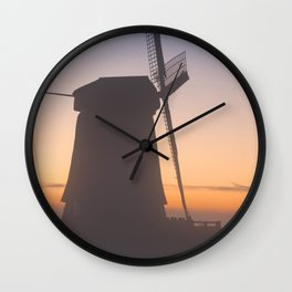 I - Traditional Dutch windmills in winter at sunrise Wall Clock