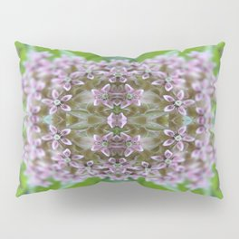 Kaleidoscope Pink Milkweed Flower Macro Photograph Pillow Sham