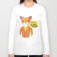 golden Long Sleeve T-shirts featuring Because I'm a Wild Animal by Nan Lawson
