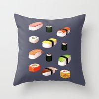 sushi Throw Pillows featuring Sushi by Skrich