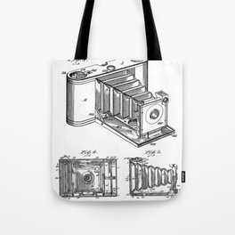 Folding Camera Patent - Photography Art - Black And White Tote Bag