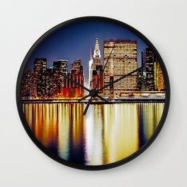 Romantic NYC Night / BIg Apple / UN  Wall Clock