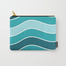 Retro Blue Mid-Century Minimalist Wave Stripes Abstract Art Carry-All Pouch