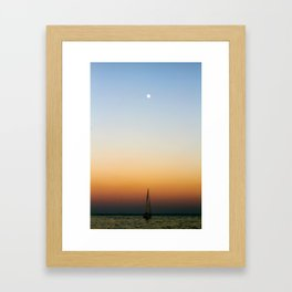 Sailboat Under the Moon Framed Art Print