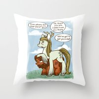 legolas Throw Pillows featuring Legolas and Gimli ponies MLP Lord of the Rings Crossover Parody  by BlacksSideshow
