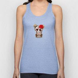 Red Day of the Dead Sugar Skull Cheetah Cub Unisex Tank Top