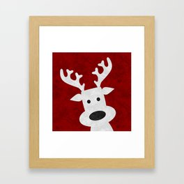 Christmas reindeer red marble Framed Art Print