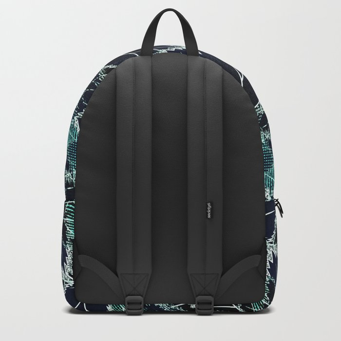 Bright turquoise leaves on a black background. Backpack