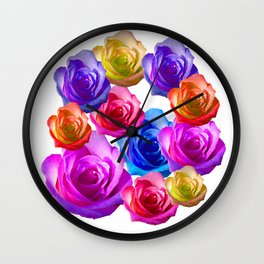 spring time rainbow roses Wall Clock