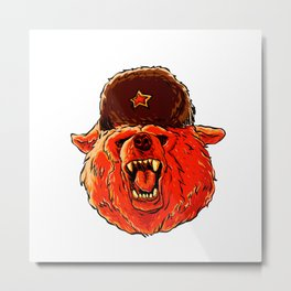 Illustration of a soviet bear . Metal Print