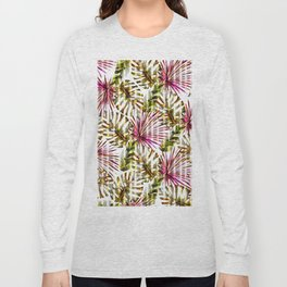 Tropical pink purple sunshine yellow palm tree stripes Long Sleeve T-shirt