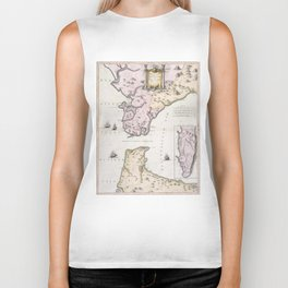 Vintage Map of The Strait of Gibraltar (1780) Biker Tank