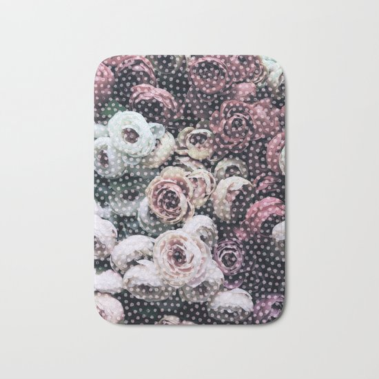 Flowers with Polka Dots Bath Mat