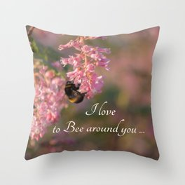 Nature bee on pink flowers Throw Pillow