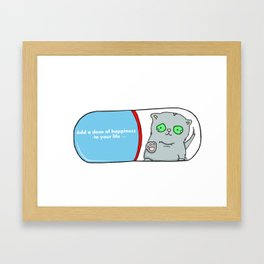 Add a dose of happiness cat in pill illustration Framed Art Print