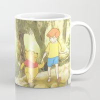 winnie the pooh Mugs featuring WINNIE THE POOH by DisPrints