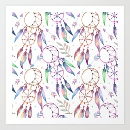 Watercolor Boho Dream Catcher Pattern Art Print