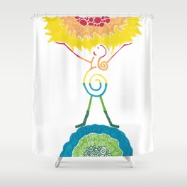 Rainbow Goddess Universe, Sun, and Earth Shower Curtain