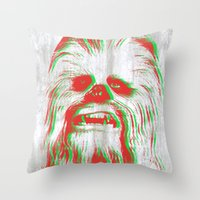 chewbacca Throw Pillows featuring Chewbacca by mangen