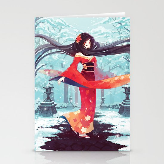 A walk in the asian winter Stationery Cards