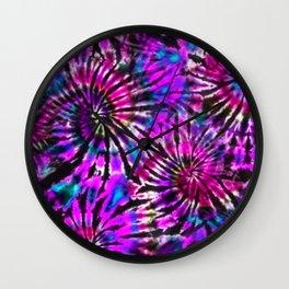Purple Tie Dye Madness Wall Clock