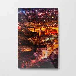 Glowing Night Cityscape Metal Print