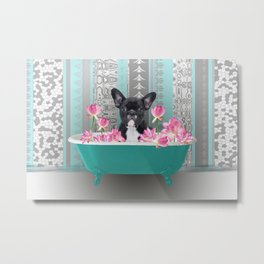 Turquoise Bathtub - French Bulldog Lotus Flower Metal Print
