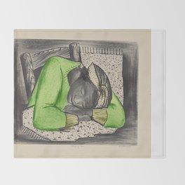 Vintage Folk Art - Sleeping Girl - Throw Blanket