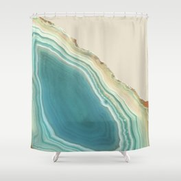 Geode Turquoise + Cream Shower Curtain