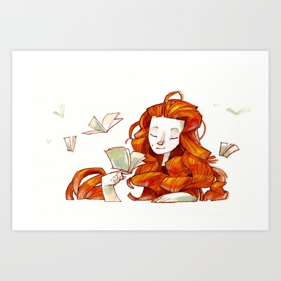 Red hair muse Art Print