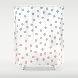 Simply Dots in Coral Peach Sea Green Gradient on White Shower Curtain