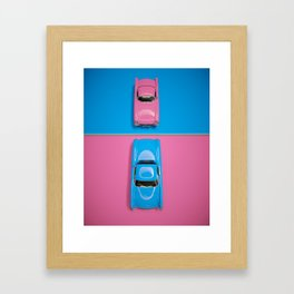 Cars Story View - Pink on Blue & Reverse Framed Art Print