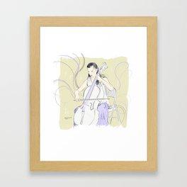 Cellist playing lavender notes Framed Art Print