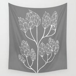 Leaf-like Sumac in Grey Wall Tapestry