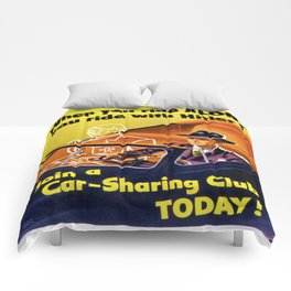 Vintage poster - Car-Sharing Club Comforters