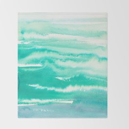 Modern hand painted teal turquoise watercolor brushstrokes Throw Blanket