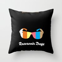 reservoir dogs Throw Pillows featuring Minimal Reservoir Dogs Poster by Mahdi Chowdhury