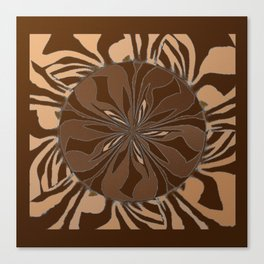 Zebra Kaleidoscope Brown and Tan Canvas Print