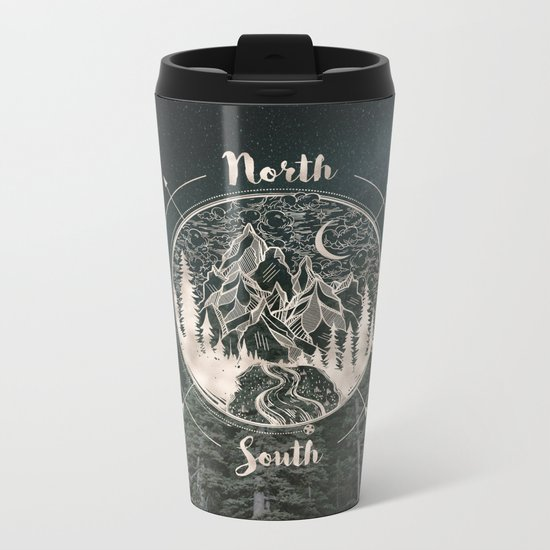 Mountains Compass Milky Way Woods Gold Metal Travel Mug