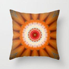 Bright Orange Star Mandala Throw Pillow