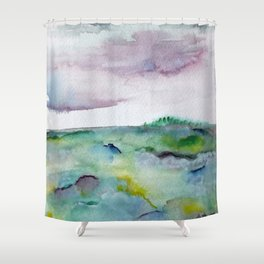 """""""337"""" abstract watercolor landscape Shower Curtain"""