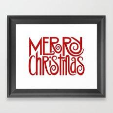 Merry Christmas Text red Framed Art Print