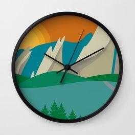 Boulder, Colorado - Skyline Illustration by Loose Petals Wall Clock