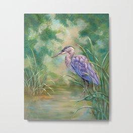 """Solitude"" - Pastel of Great Blue Heron Metal Print"