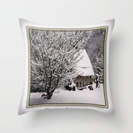 OLD SHED IN SNOW Throw Pillow