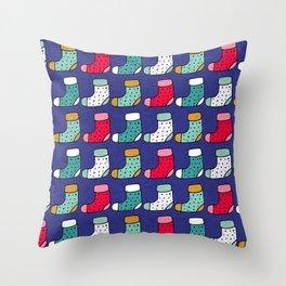 Christmas Stockings Blue #Christmas #Holiday Throw Pillow