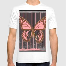 ANTIQUE GRUBY PINK BUTTERFLY ART Mens Fitted Tee White MEDIUM