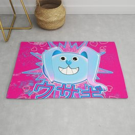Rabbit in pink and blue! Rug