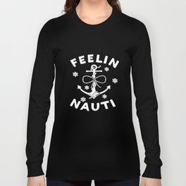 Life Is Good Womens Long Sleeve Crusher Vee Feelin Nauti Anchor T-Shirts Long Sleeve T-shirt